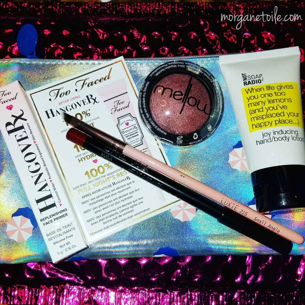 july glam bag, ipsy, mellow cosmetics, too faced hangover replenishing primer, luxie brushes, ofra lip liner