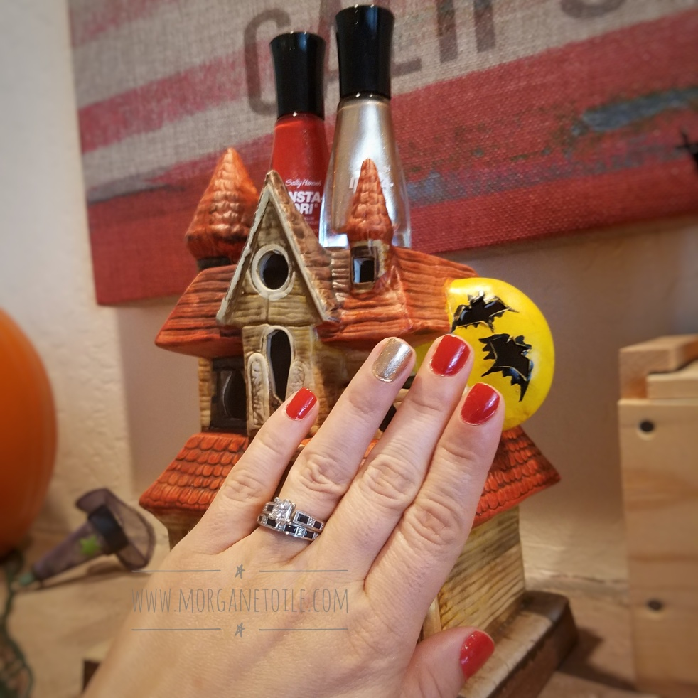 Quick and Easy Fall Nails! #fallnailart #halloweennails Orange and Gold Nails, Sally Hansen Insta-Dri